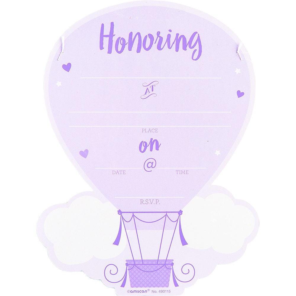Premium Hot Air Balloon Baby Shower Invitations 8ct Image #2