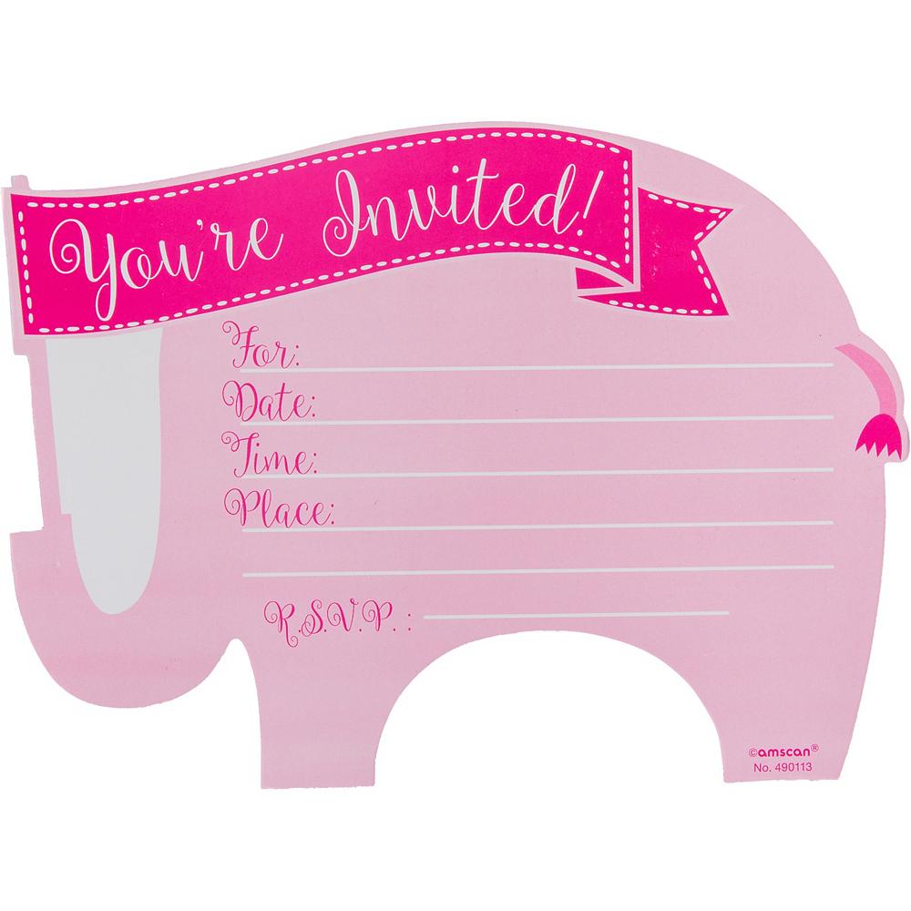Premium Pink Elephant Baby Shower Invitations 8ct Image #2