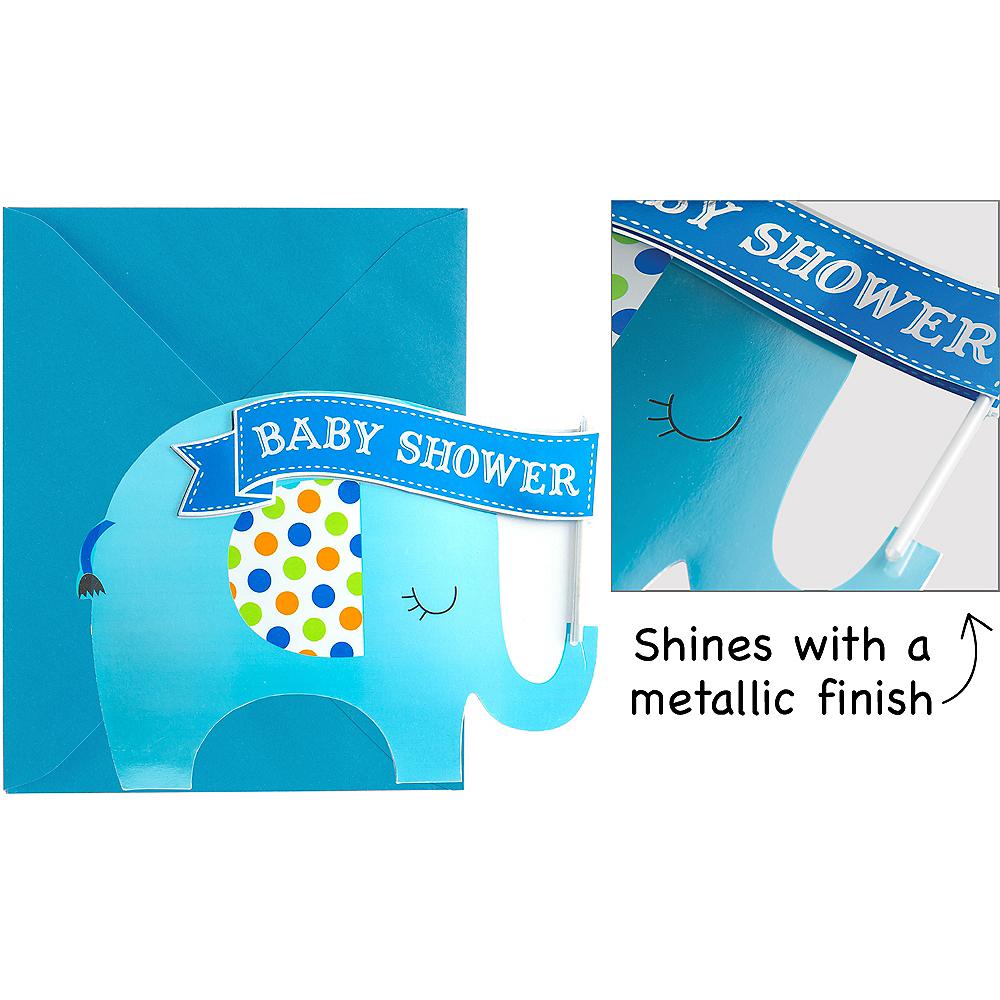 Premium Blue Elephant Baby Shower Invitations 8ct Image #1