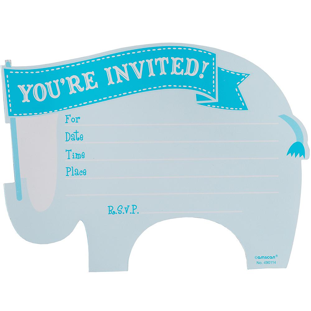 Premium Blue Elephant Baby Shower Invitations 8ct Image #2
