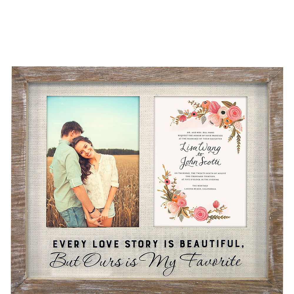 Love Story Rustic Wedding Invitation Photo Frame Image #1