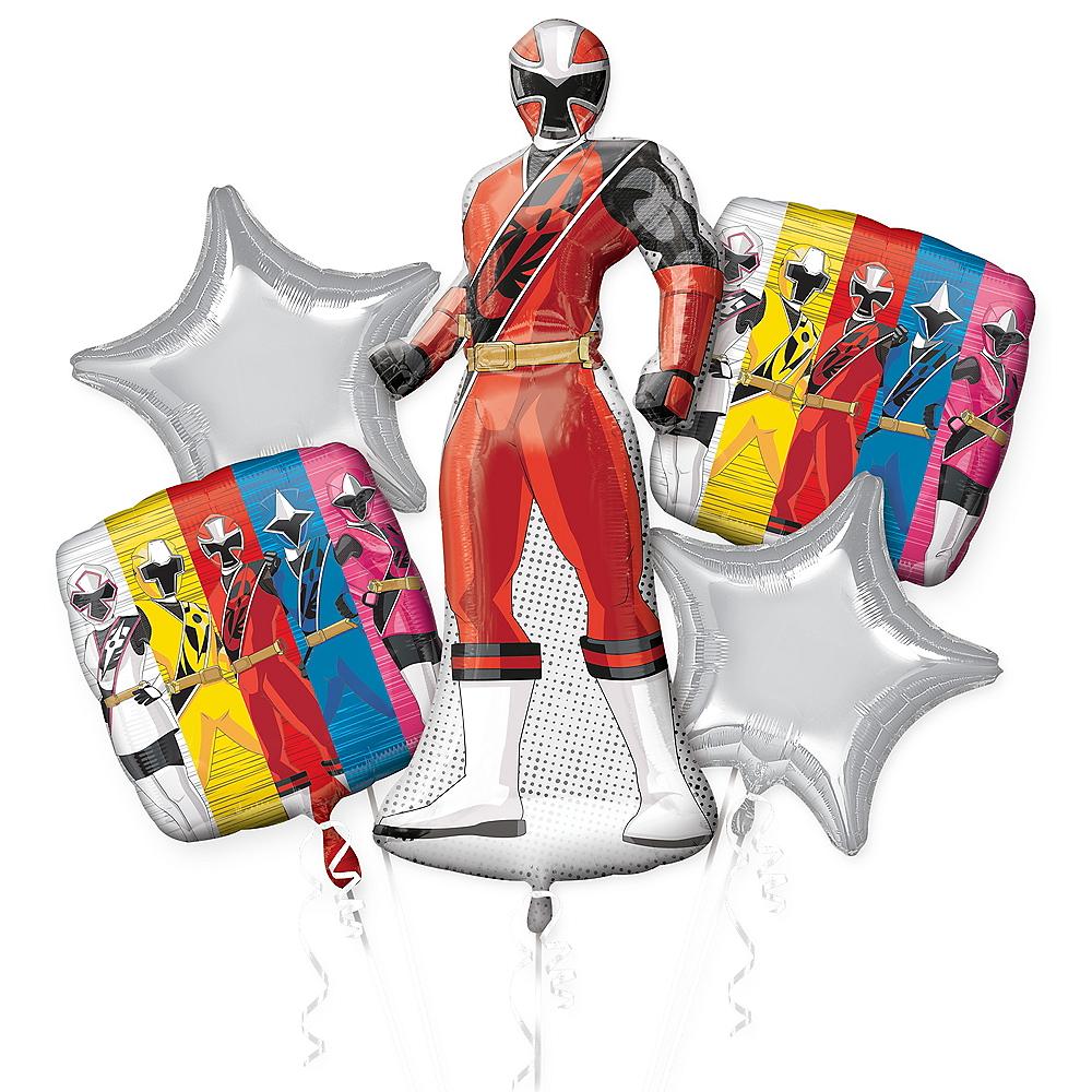 Red Ranger Balloon Bouquet 5pc - Power Rangers Ninja Steel Image #1