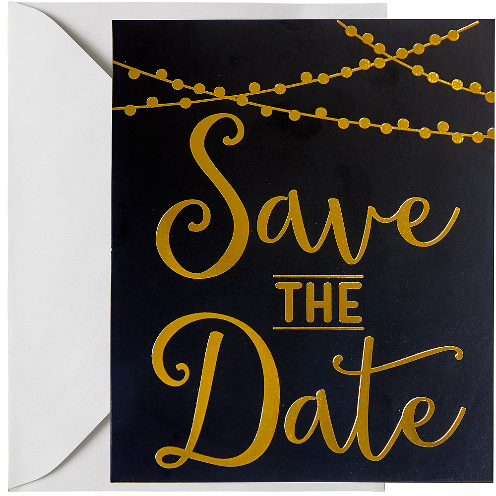 Nav Item For Black Gold Save The Date Invitations 20ct Image