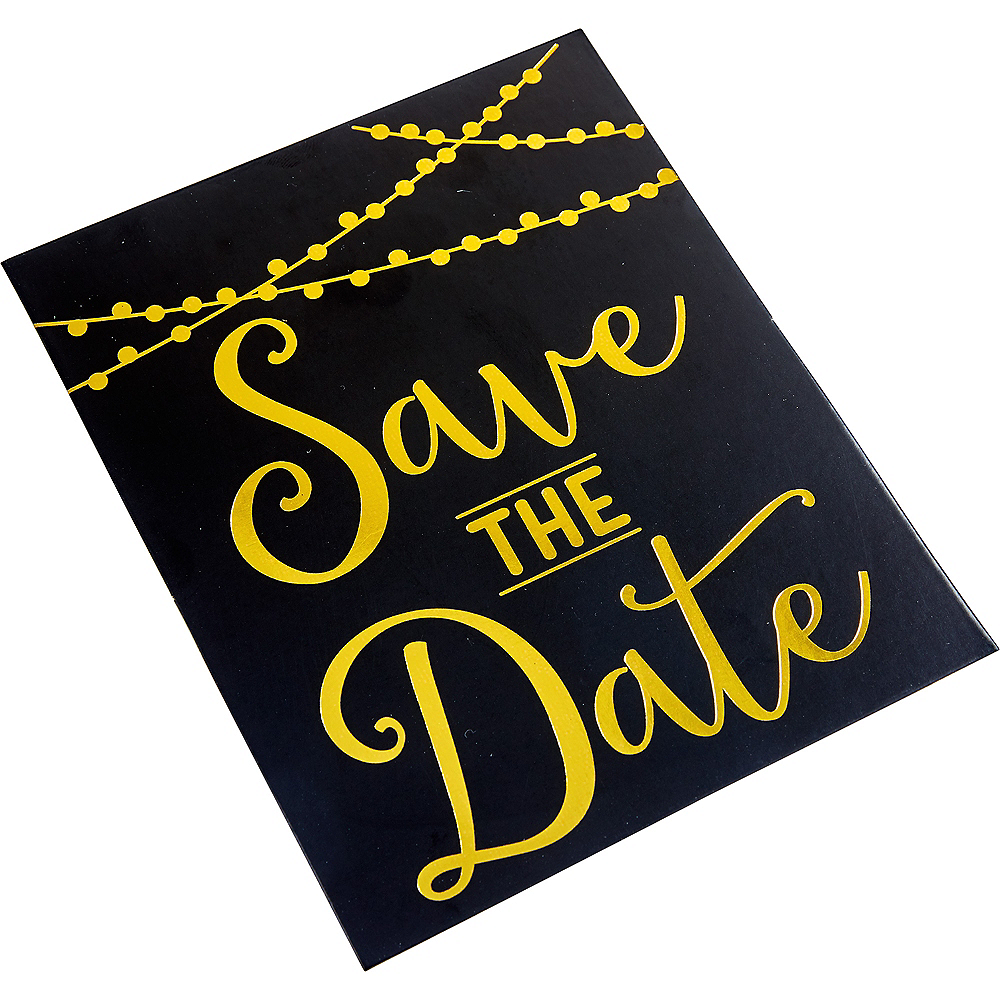 black gold save the date invitations 20ct party city