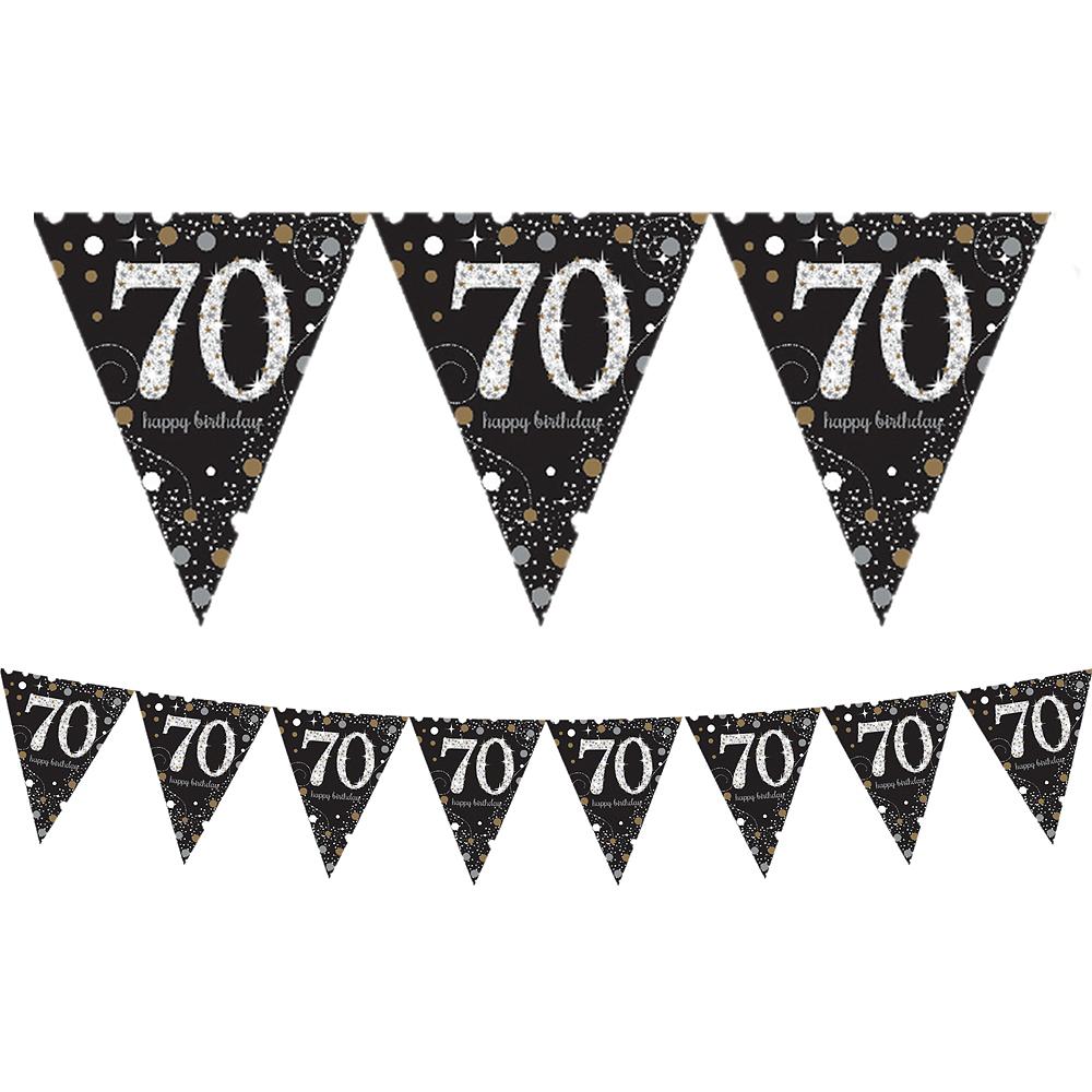 Prismatic 70th Birthday Pennant Banner - Sparkling Celebration Image #1