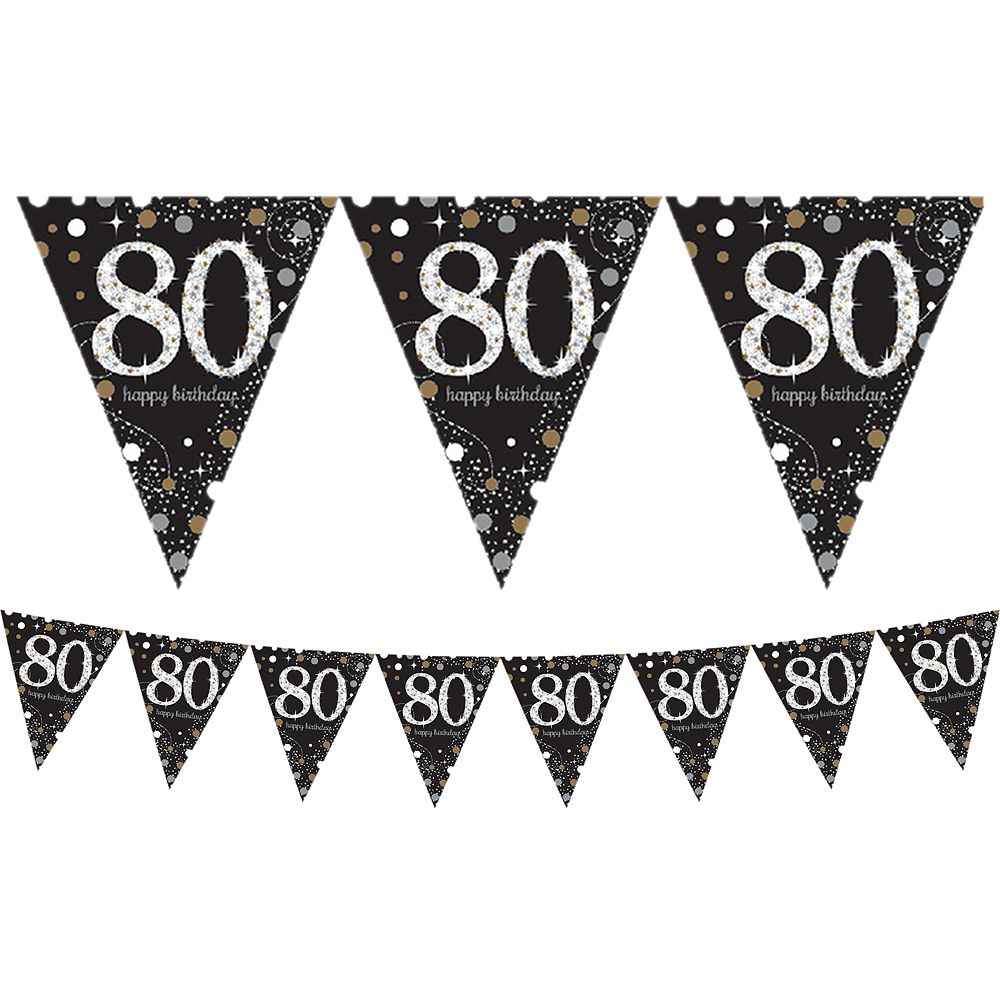 Prismatic 80th Birthday Pennant Banner - Sparkling Celebration Image #1