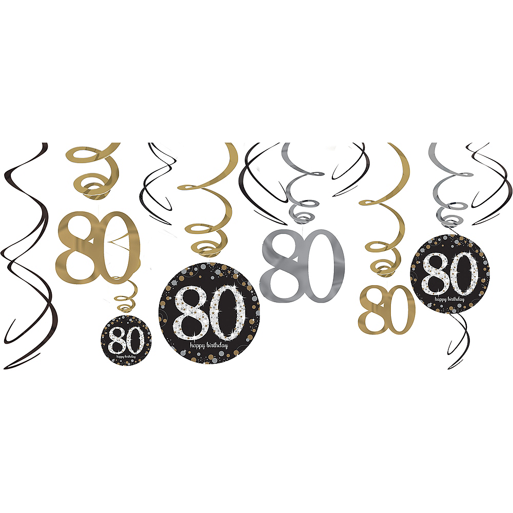 80th Birthday Swirl Decorations 12ct
