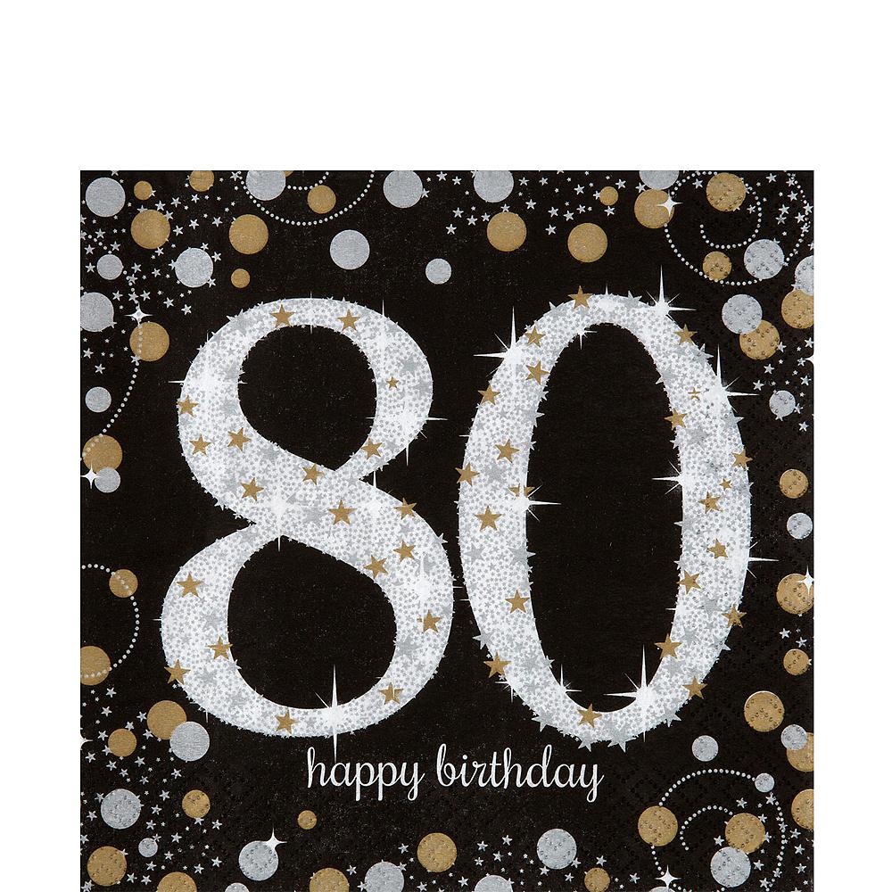 80th Birthday Lunch Napkins 16ct - Sparkling Celebration Image #1
