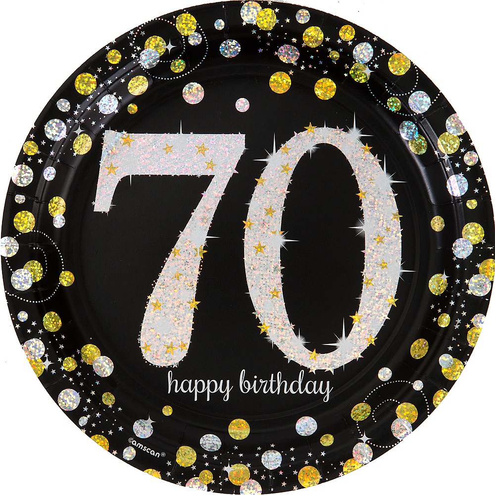 Prismatic 70th Birthday Lunch Plates 8ct - Sparkling Celebration Image #1