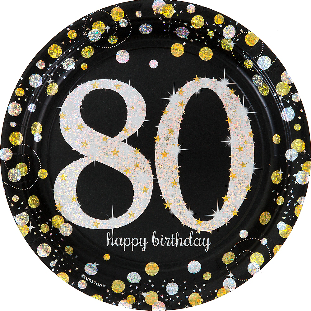 Prismatic 80th Birthday Lunch Plates 8ct - Sparkling Celebration Image #1