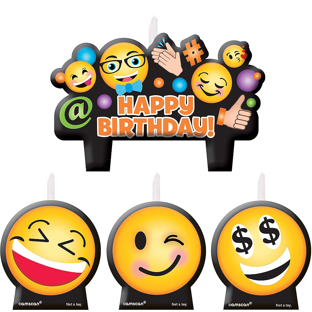 Smiley Birthday Candles 4ct Image #1