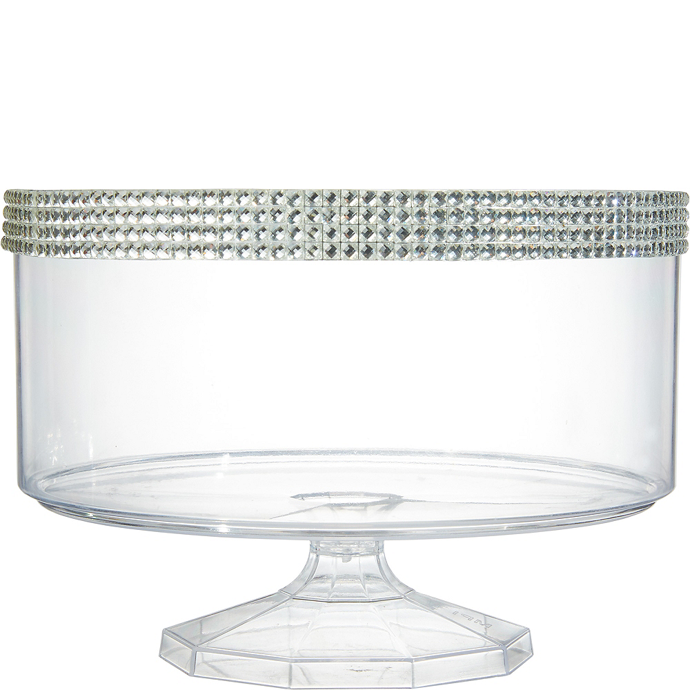 Large Rhinestone Clear Plastic Trifle Container Image #1