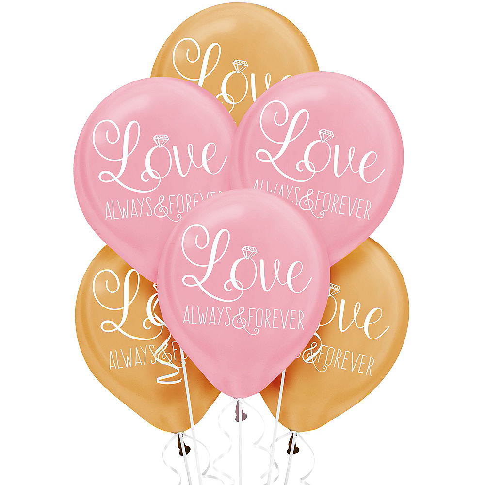 Gold & Pink Sparkling Wedding Balloons 6ct Image #1