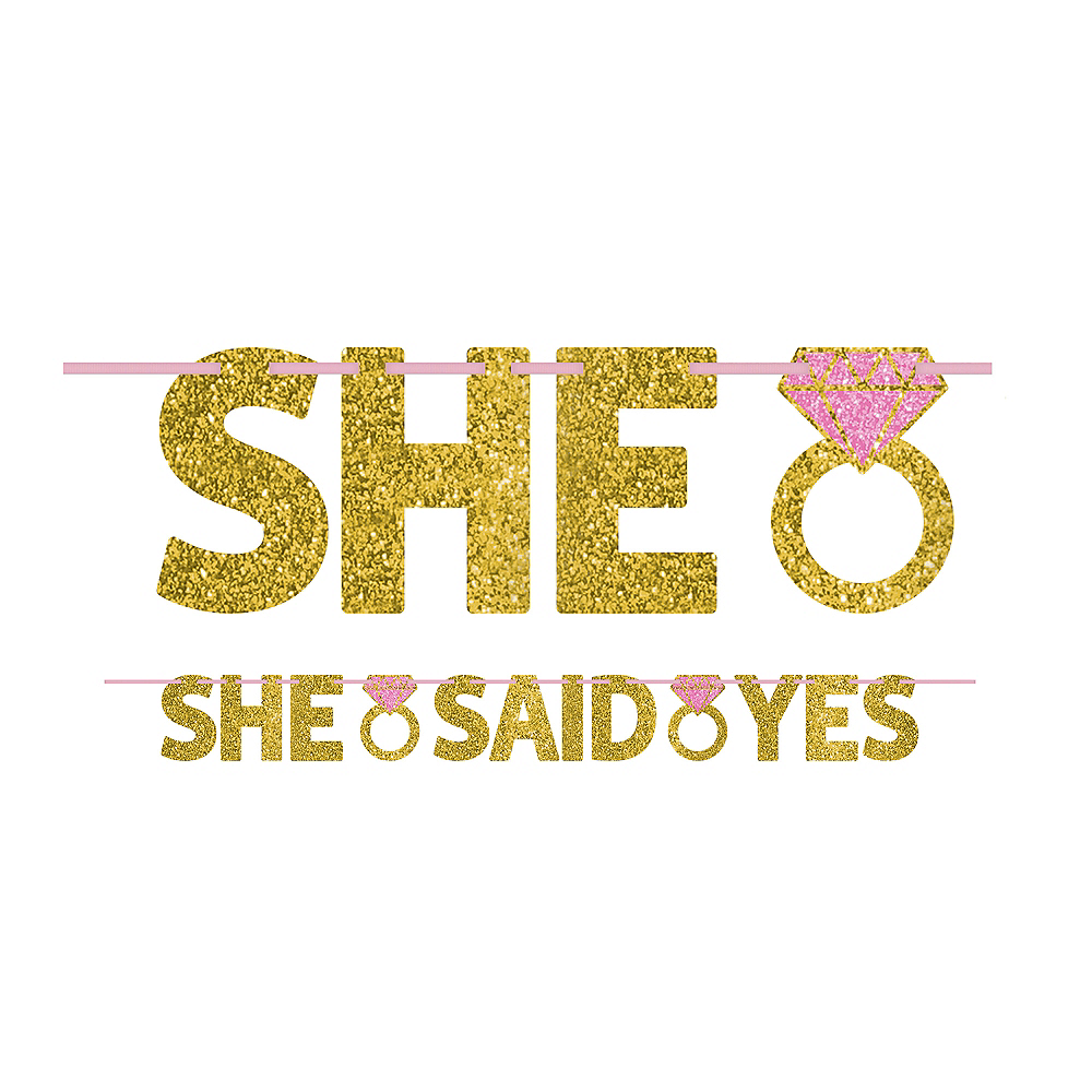 Glitter Gold She Said Yes Letter Banner Image #1