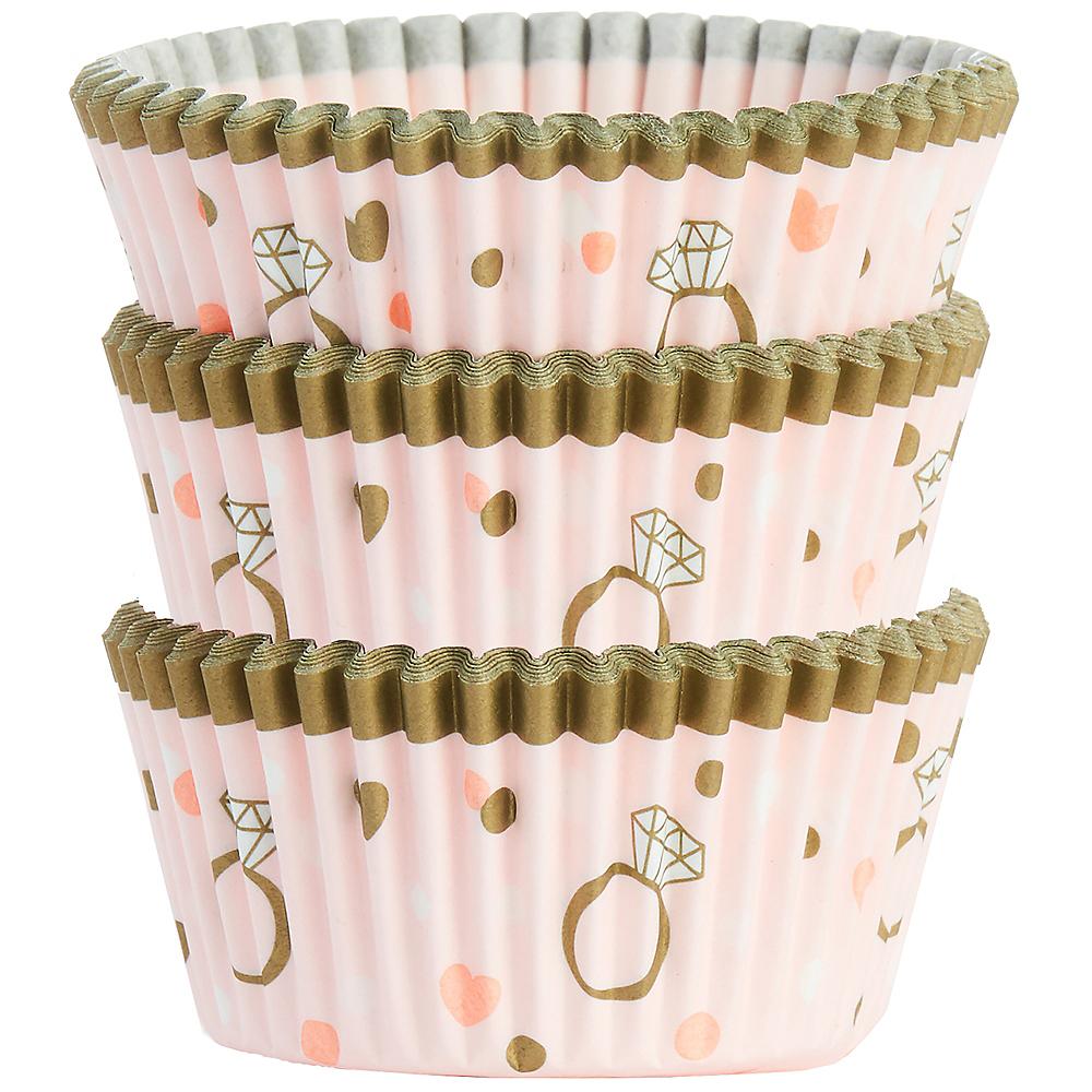 Sparkling Pink Wedding Baking Cups 75ct Image #1