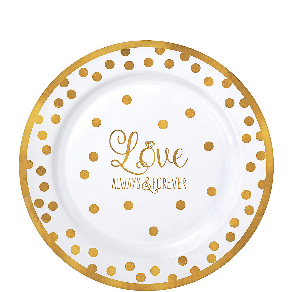 Nav Item for Sparkling Gold Wedding Premium Plastic Lunch Plates 20ct Image #1