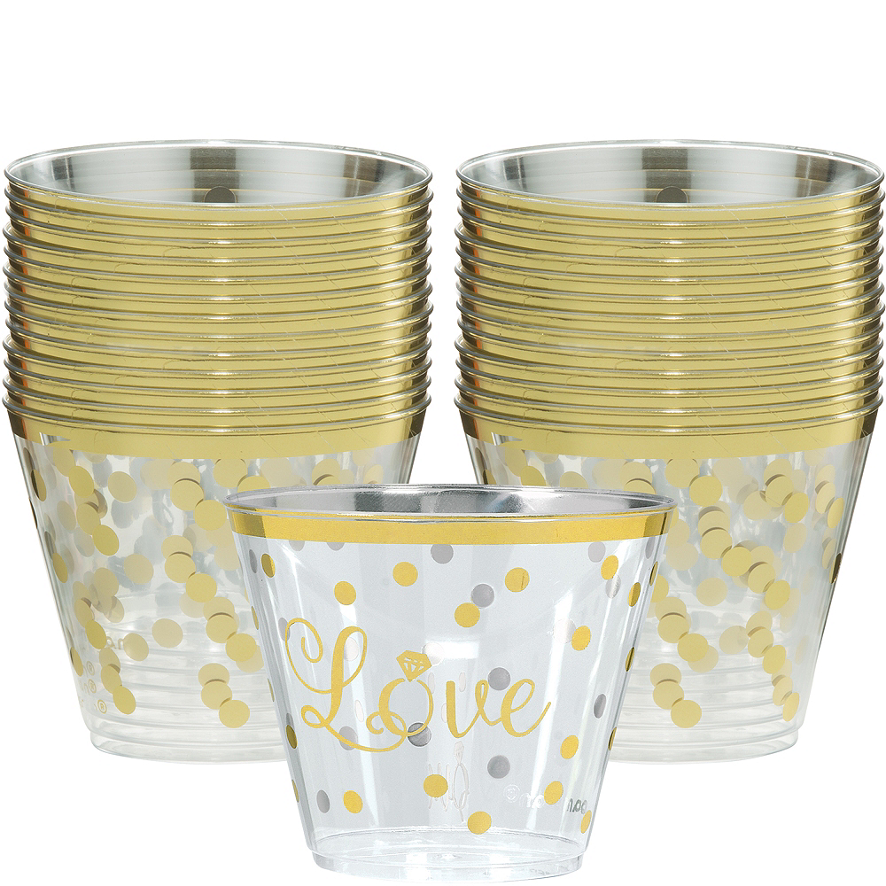 Sparkling Gold Wedding Plastic Cups 30ct Image #1