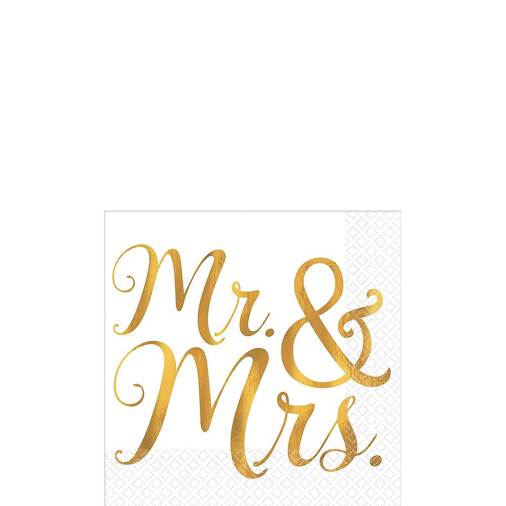 Gold Mr. & Mrs. Wedding Beverage Napkins 16ct Image #1