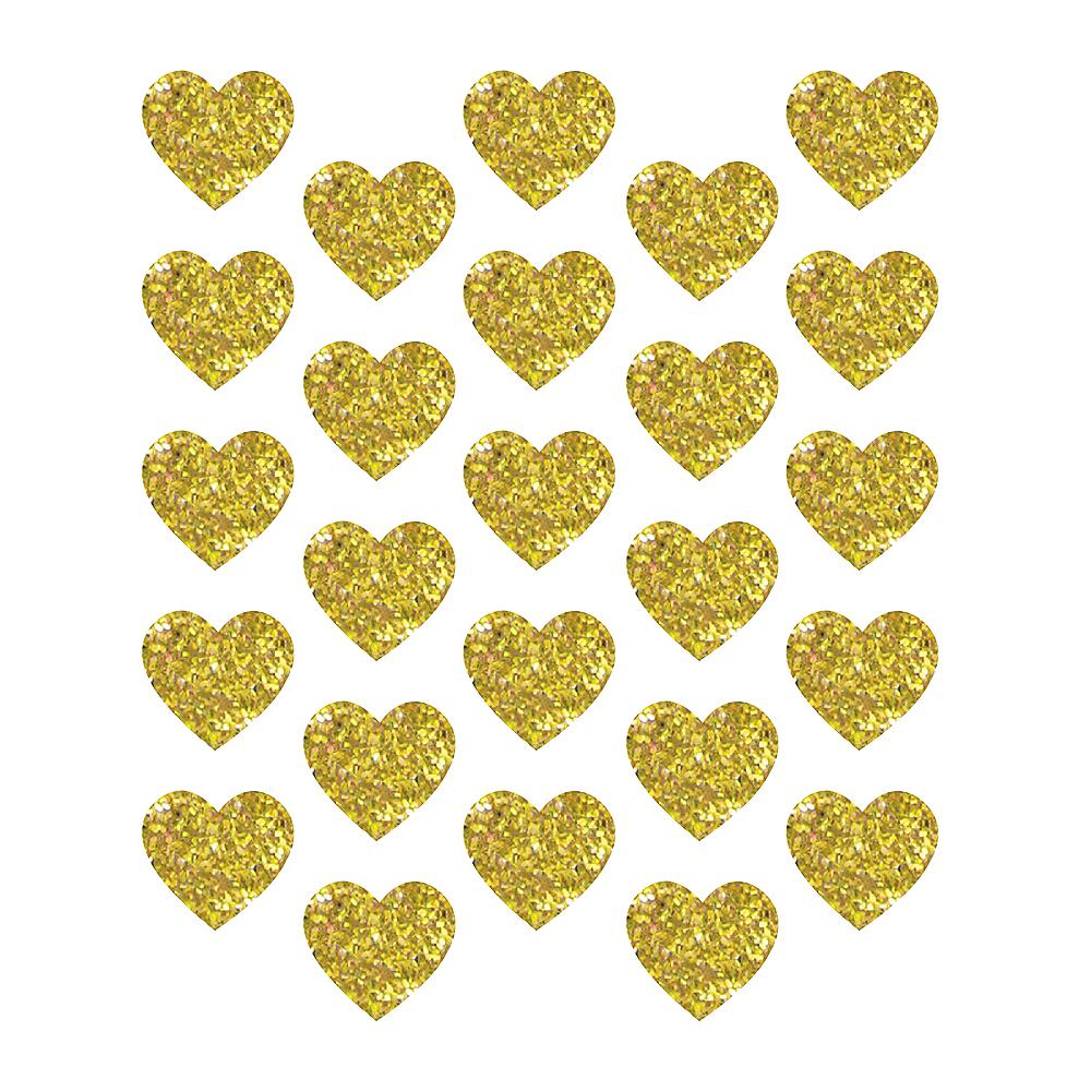 Glitter Gold Heart Sticker Seals 1 Sheet Image #1