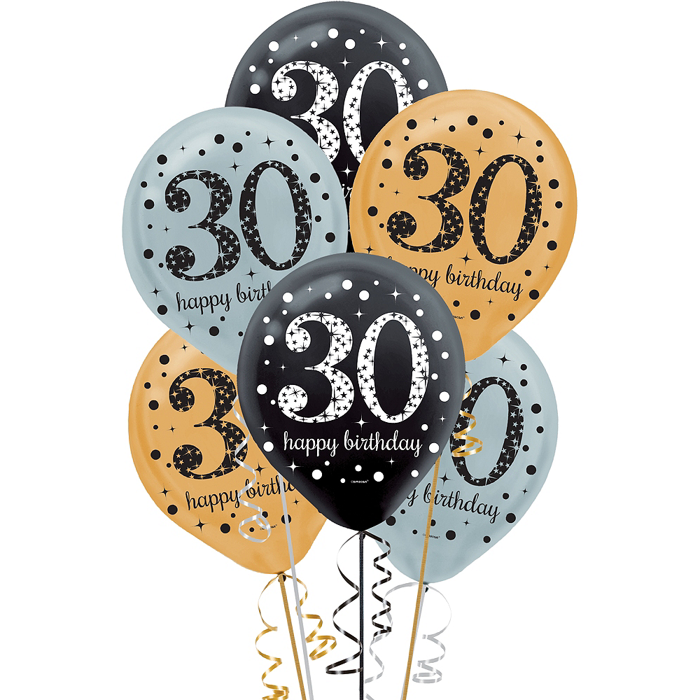 30th Birthday Balloons 15ct