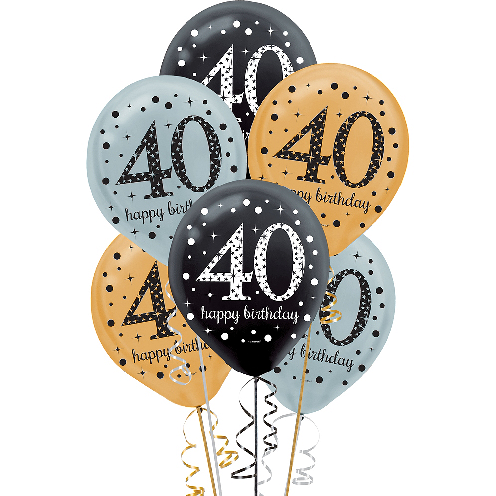 40th Birthday Balloons 15ct