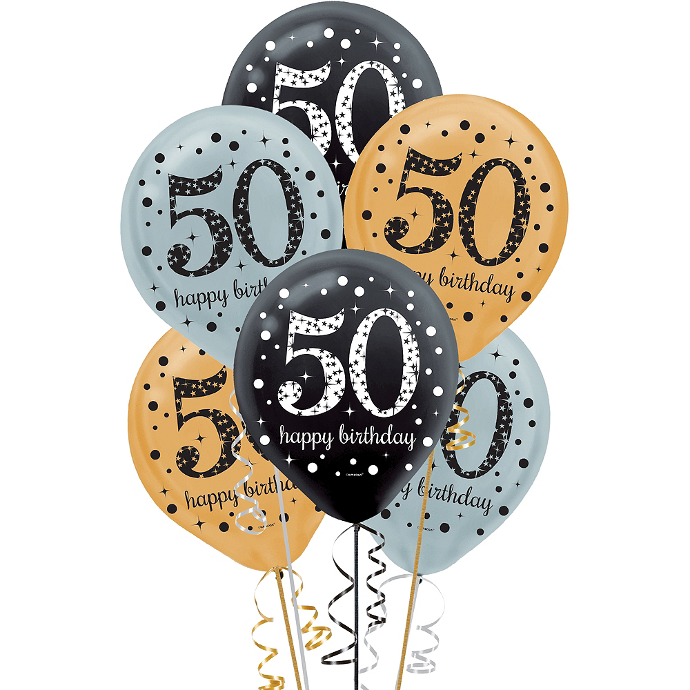 50th Birthday Balloons 15ct - Sparkling Celebration Image #1