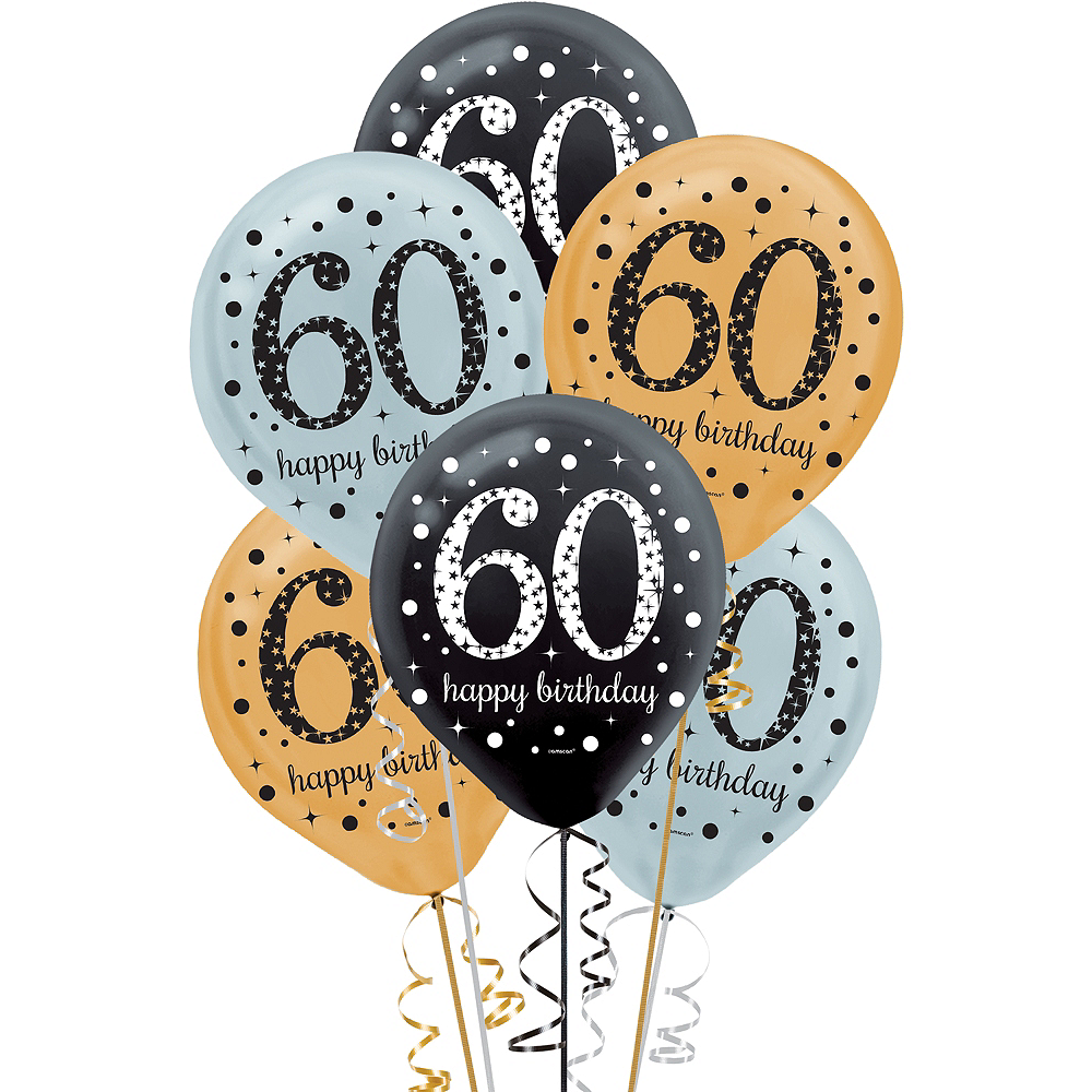60th Birthday Balloons 15ct - Sparkling Celebration ...