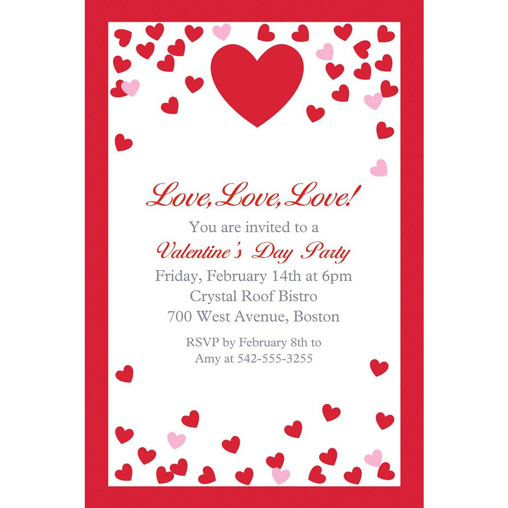 Custom Confetti Hearts Invitation Image #1