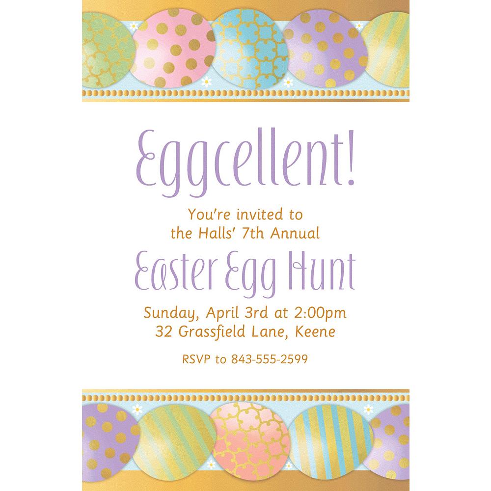 Custom Golden Easter Egg Invitation Image #1