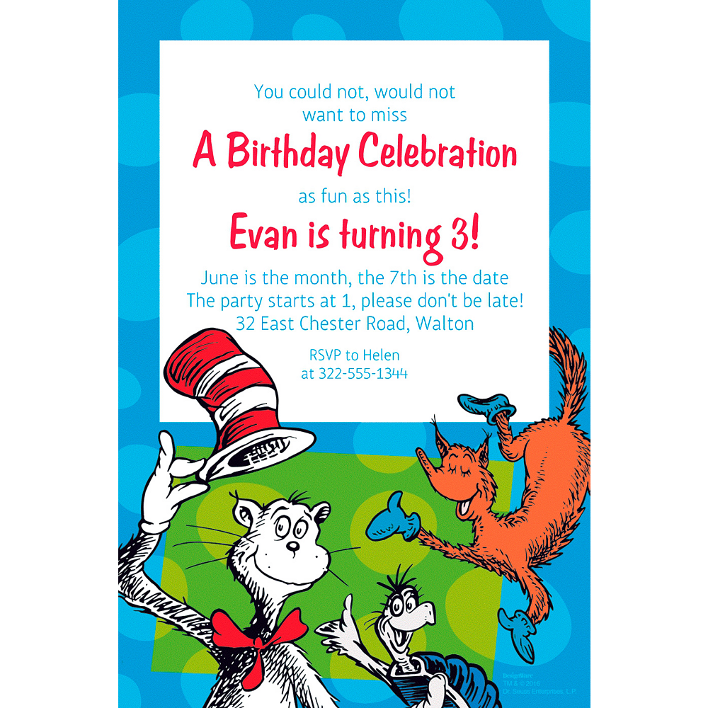 Custom Dr. Seuss Invitation Image #1