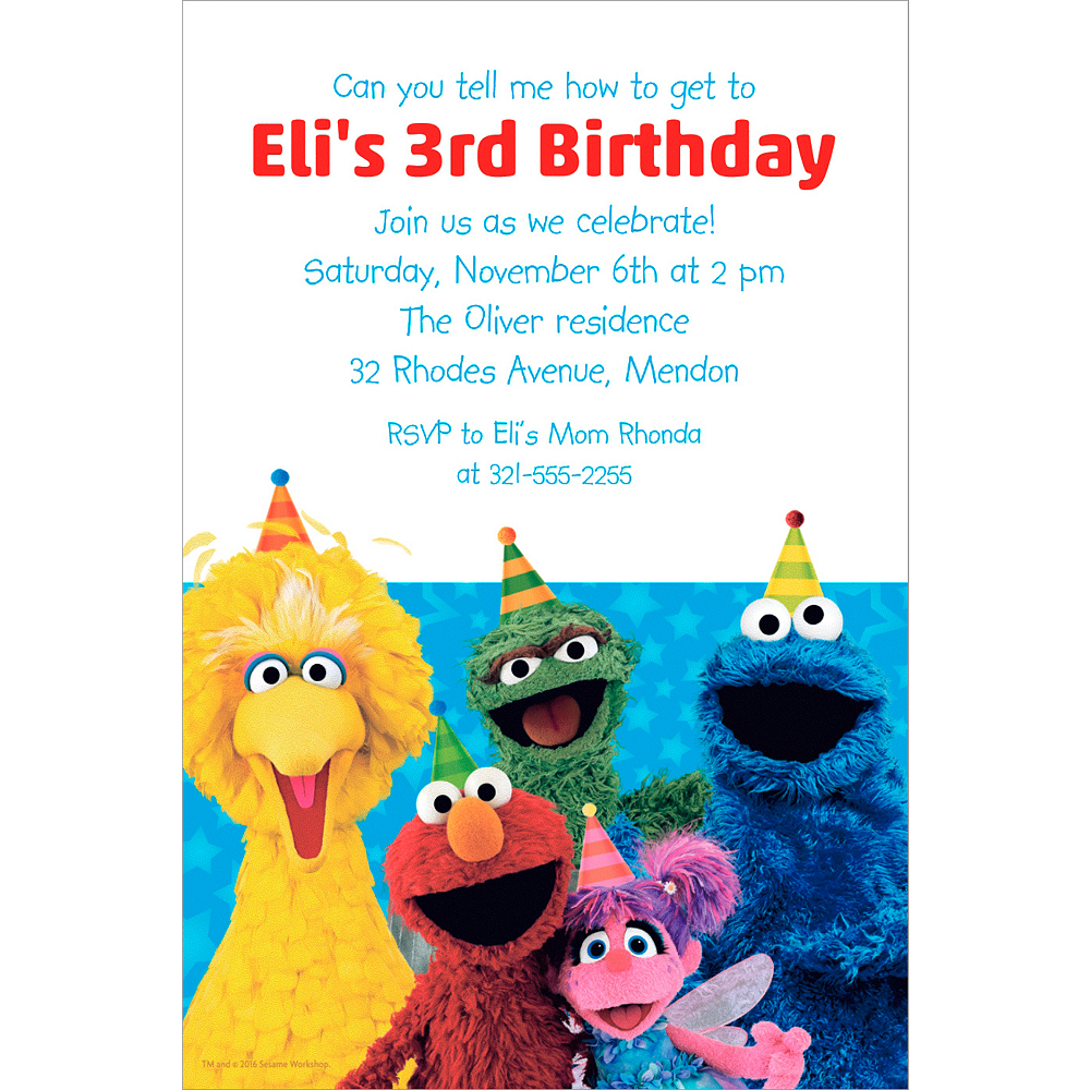 Nav Item for Custom Sesame Street Invitation Image #1