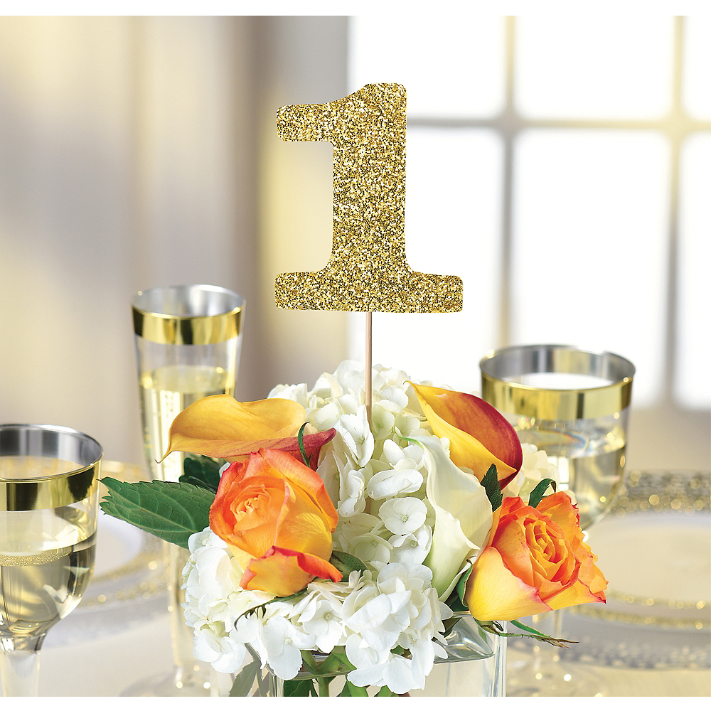 Gold Table Number Centerpiece Sticks 1-12 Image #1