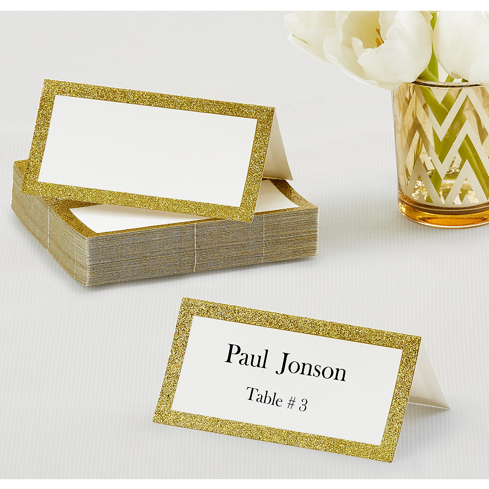 Glitter Gold Place Cards 50ct Image #1