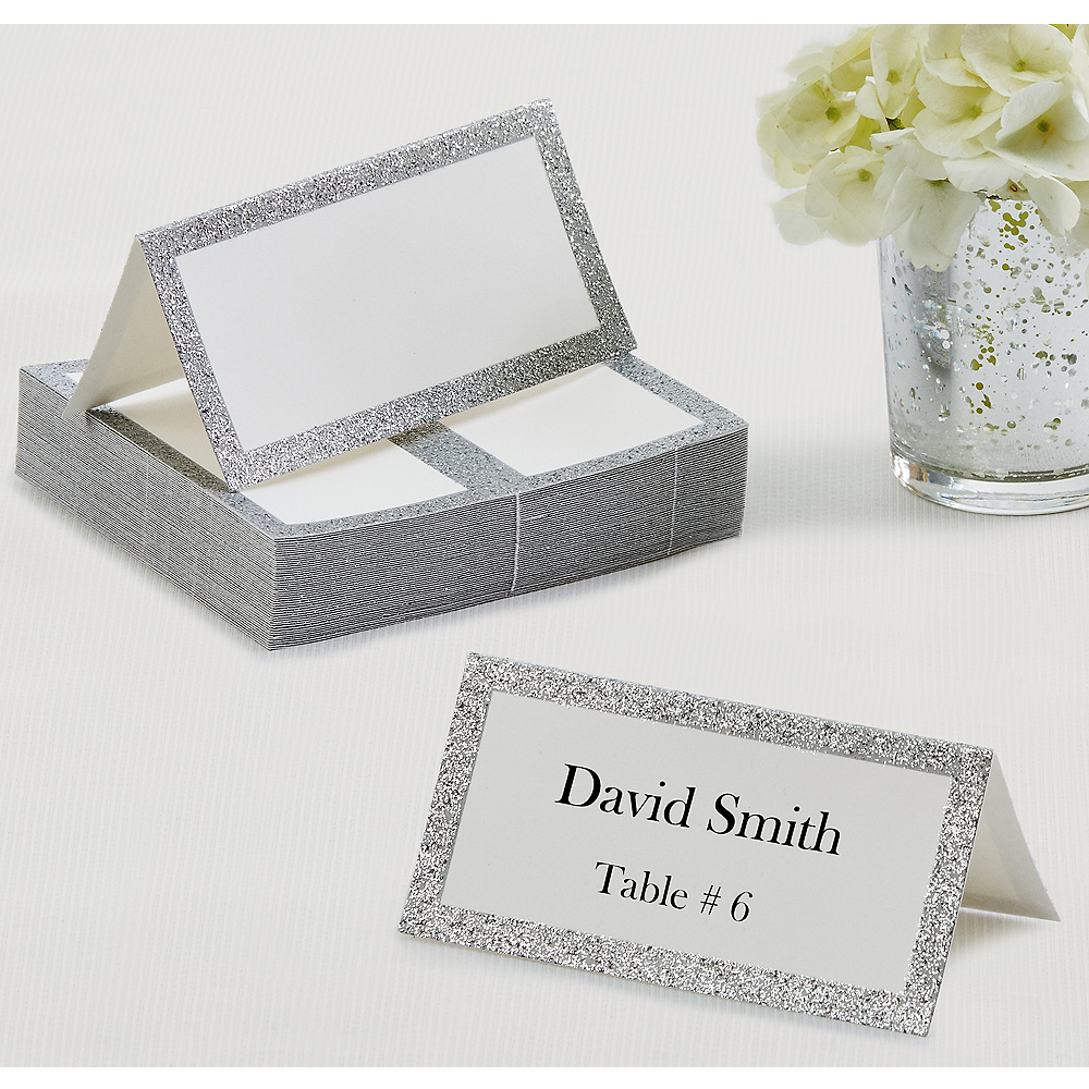 Glitter Silver Place Cards 50ct Image #1