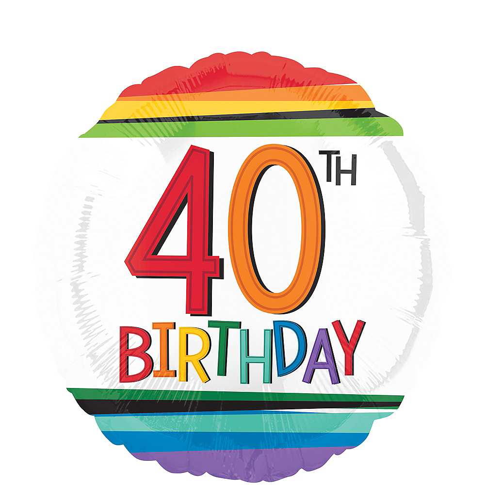 Rainbow 40th Birthday Balloon, 17in Image #1