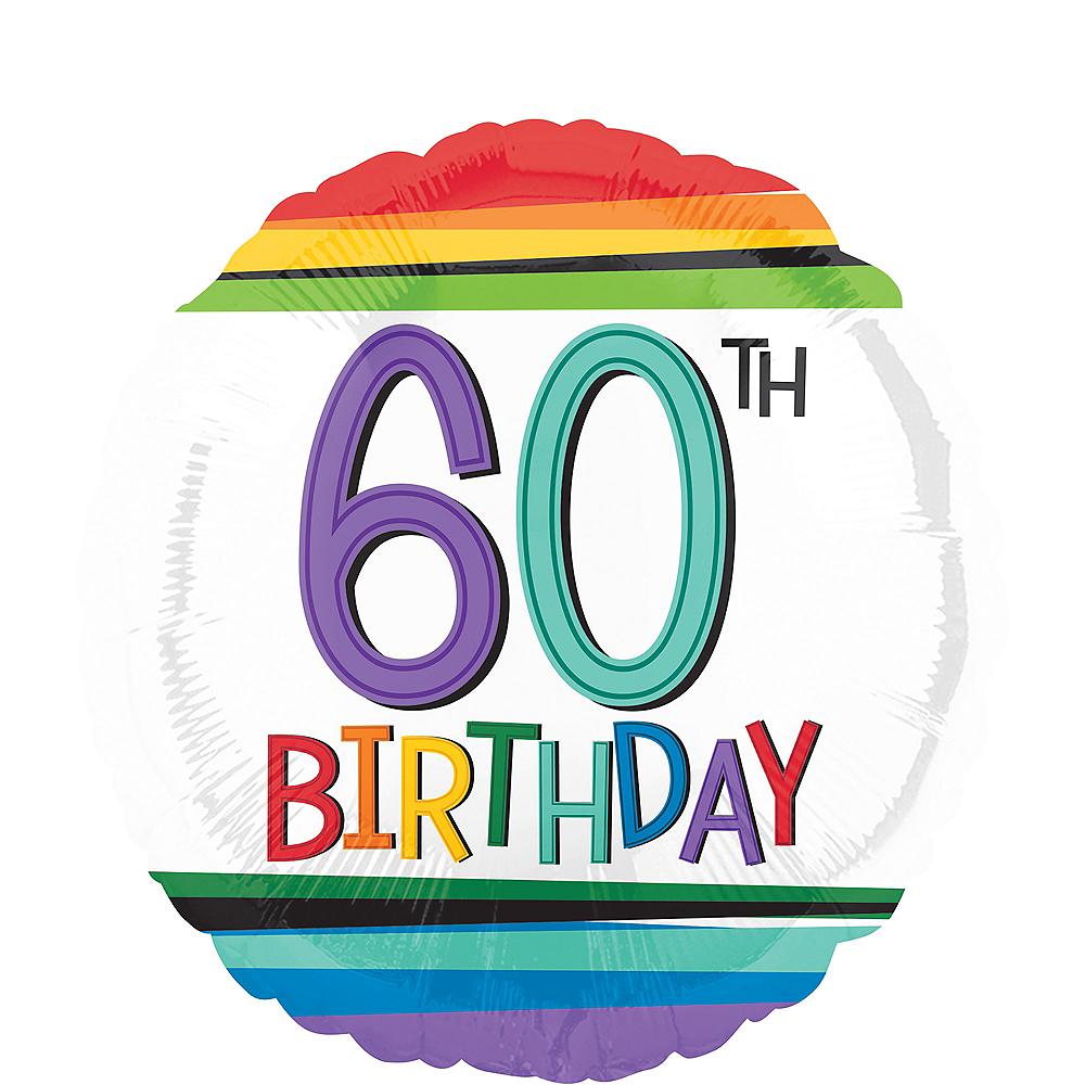 Rainbow 60th Birthday Balloon 17in Image #1