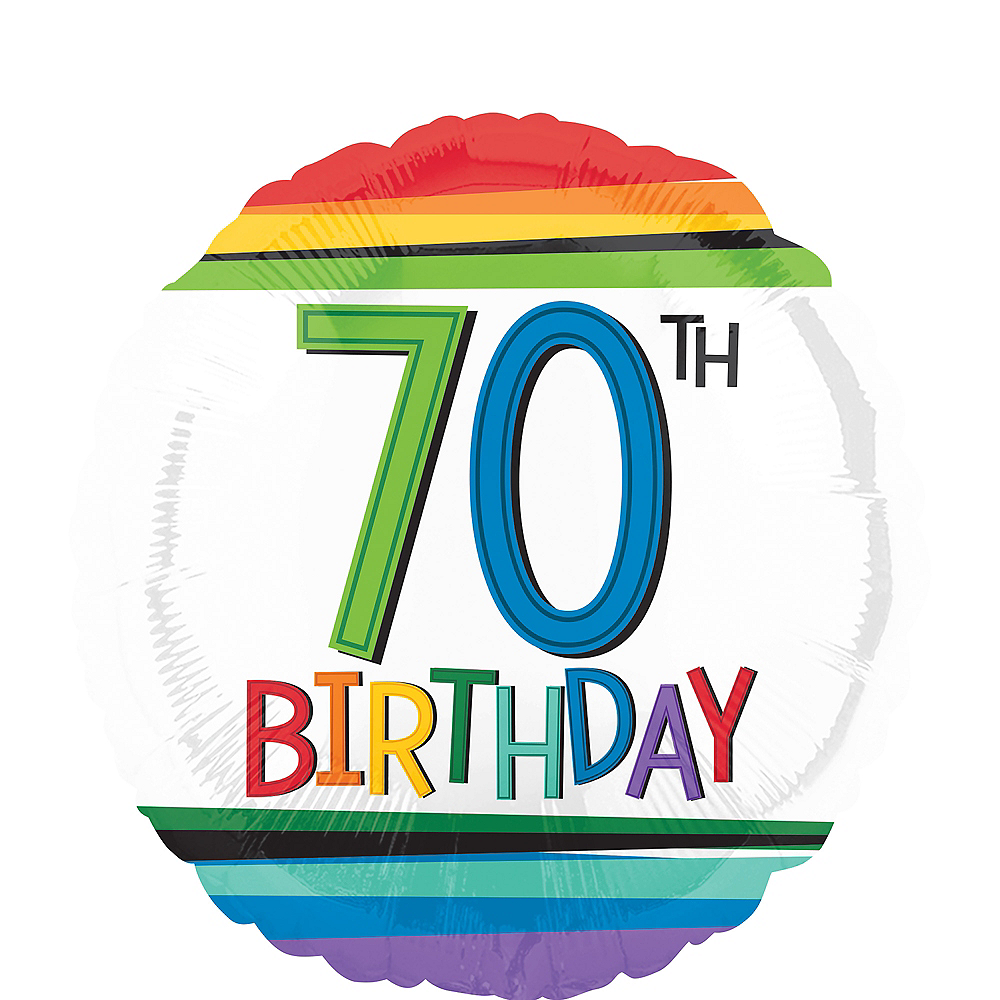 Nav Item for Rainbow 70th Birthday Balloon 17in Image #1