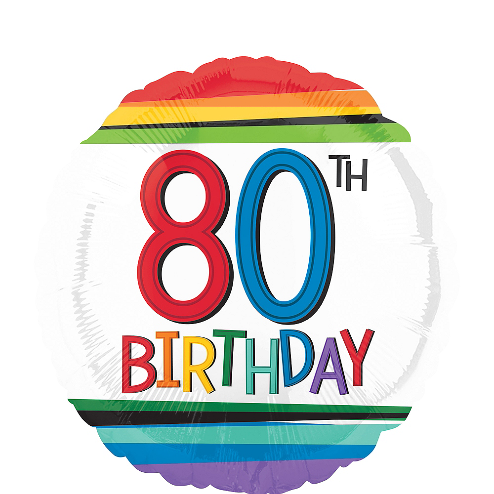 Rainbow 80th Birthday Balloon 17in Image 1