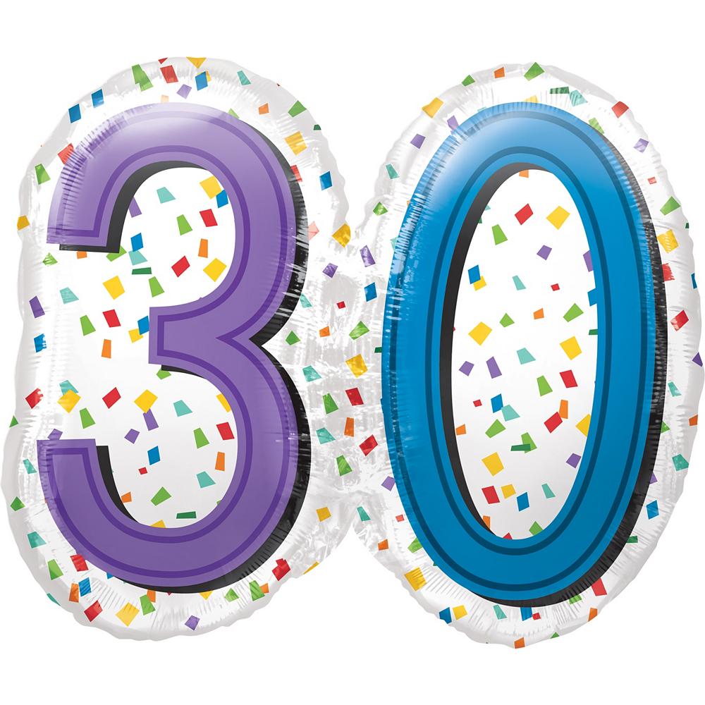 Rainbow 30th Birthday Balloon 25in x 23in Image #1