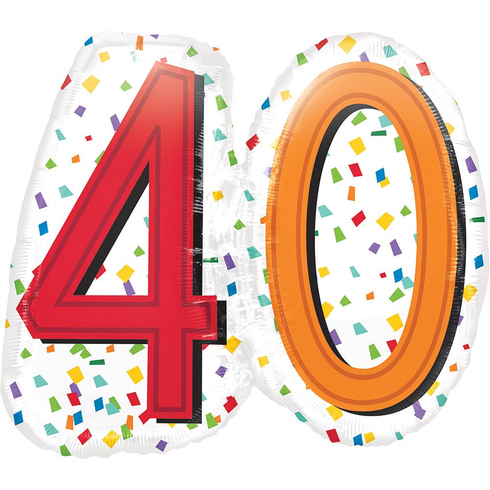 Rainbow 40th Birthday Balloon 25in x 23in Image #1