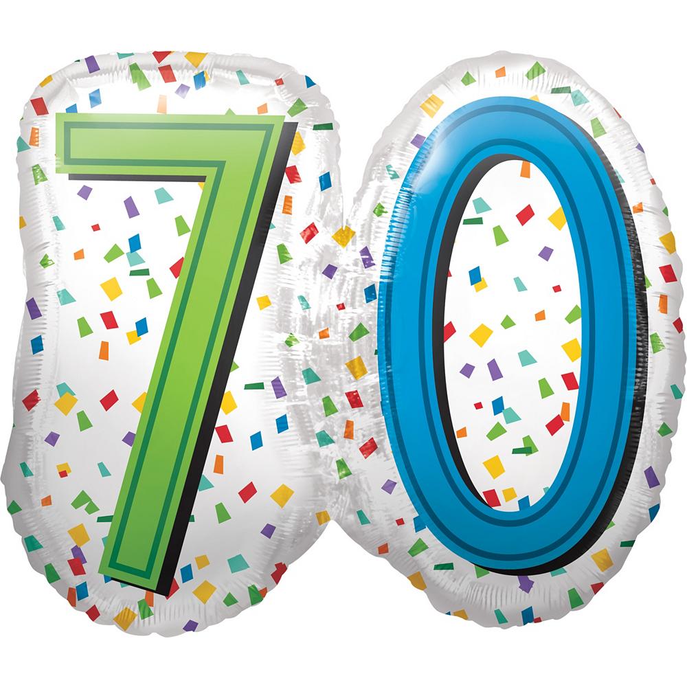 Rainbow 70th Birthday Balloon 25in x 23in Image #1