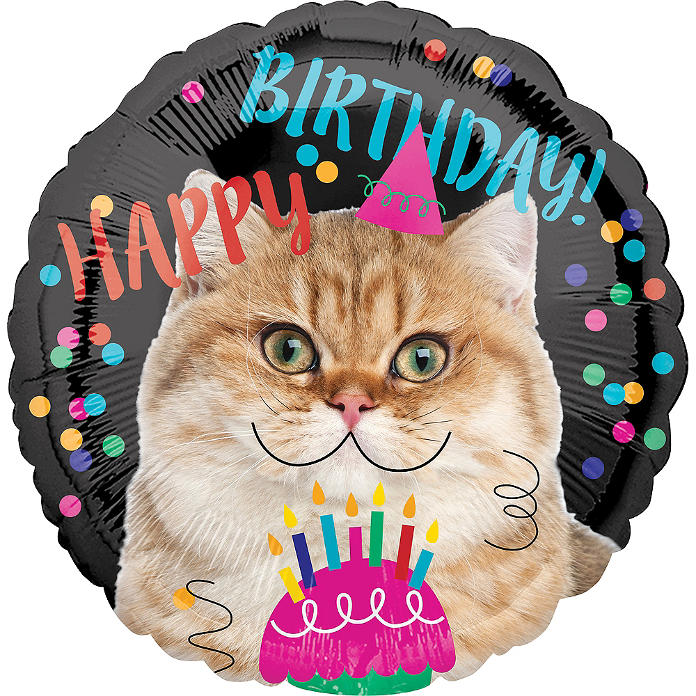 Cat Birthday Balloon 17in Image #1
