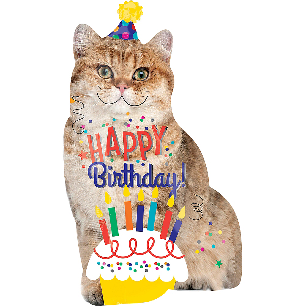Giant Cat Birthday Balloon 18in X 33in Image 1