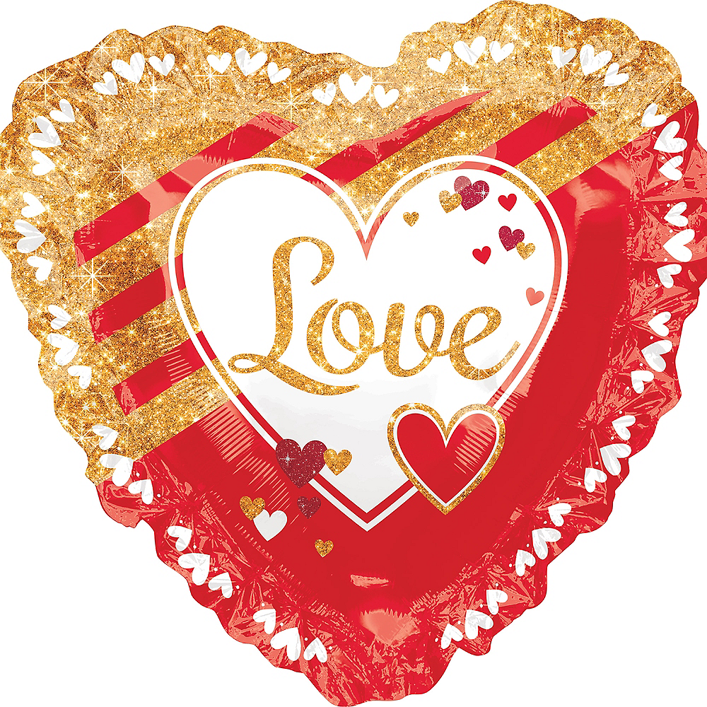 Gold & Red Love Heart Balloon, 28in Image #1