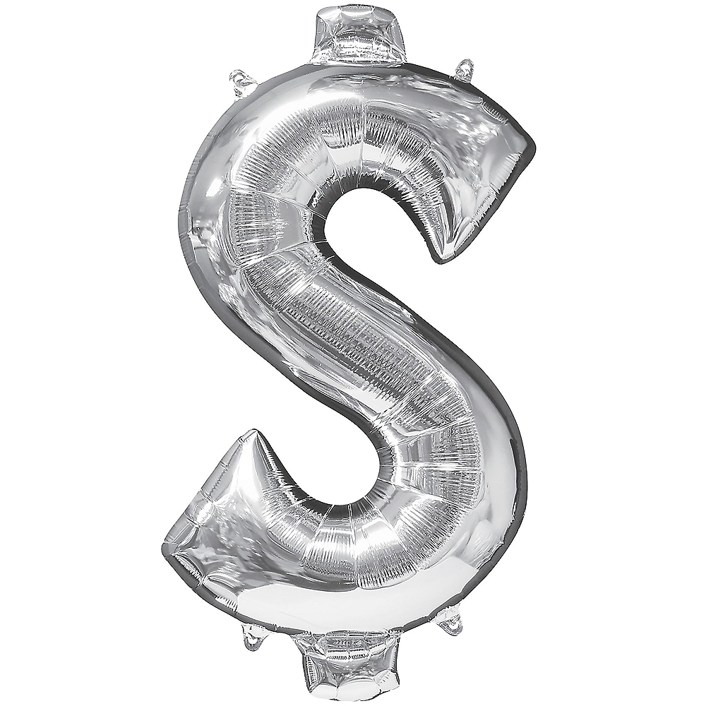 Giant Silver Money Symbol Balloon 21in x 40in Image #1