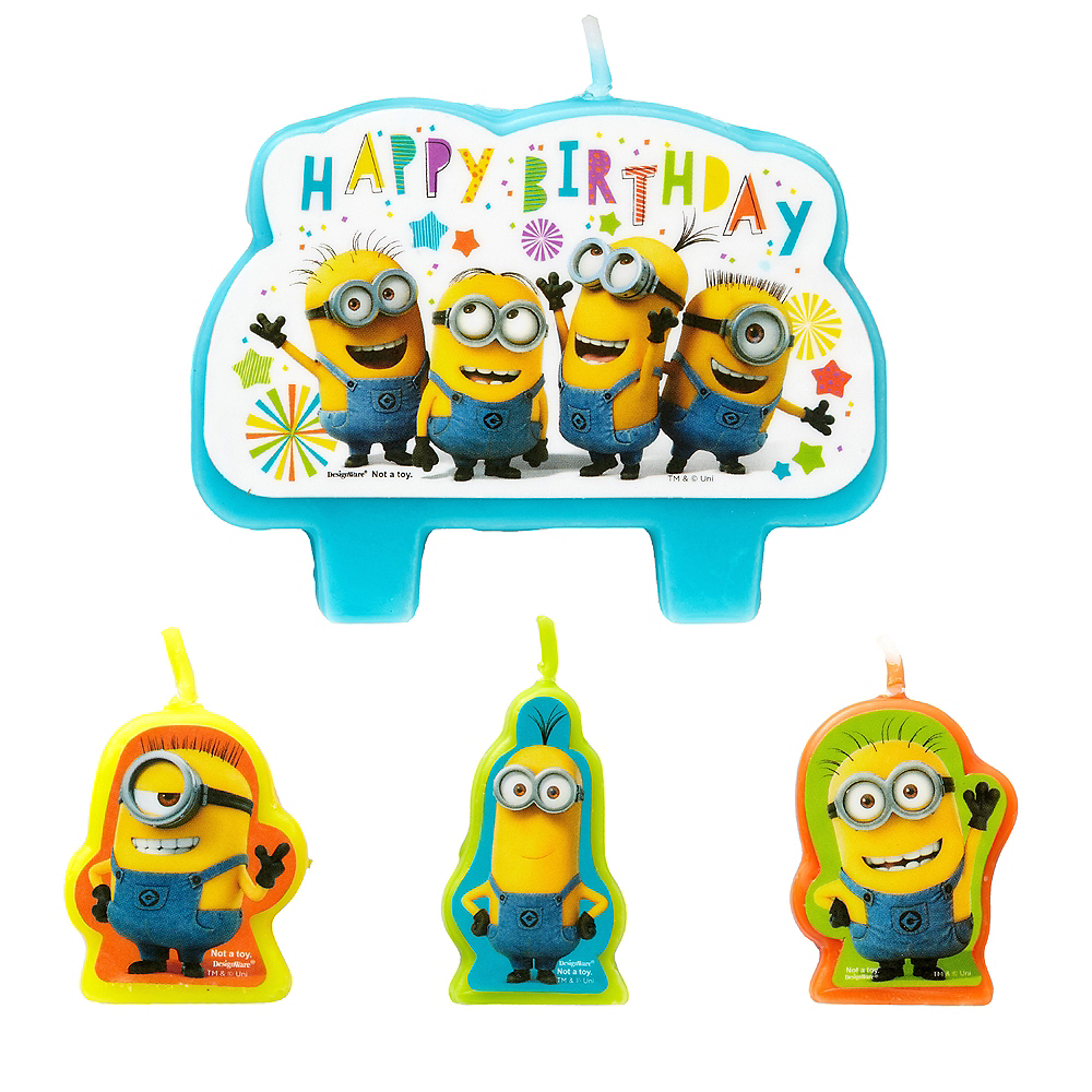 Minions Birthday Candles 4ct Image 1