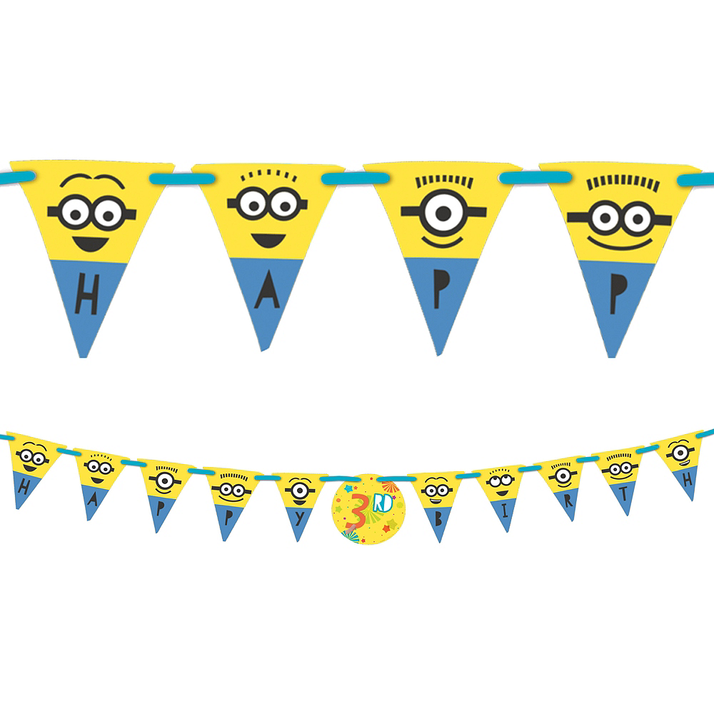 minions birthday banner kit 10 1 2ft x 10in party city