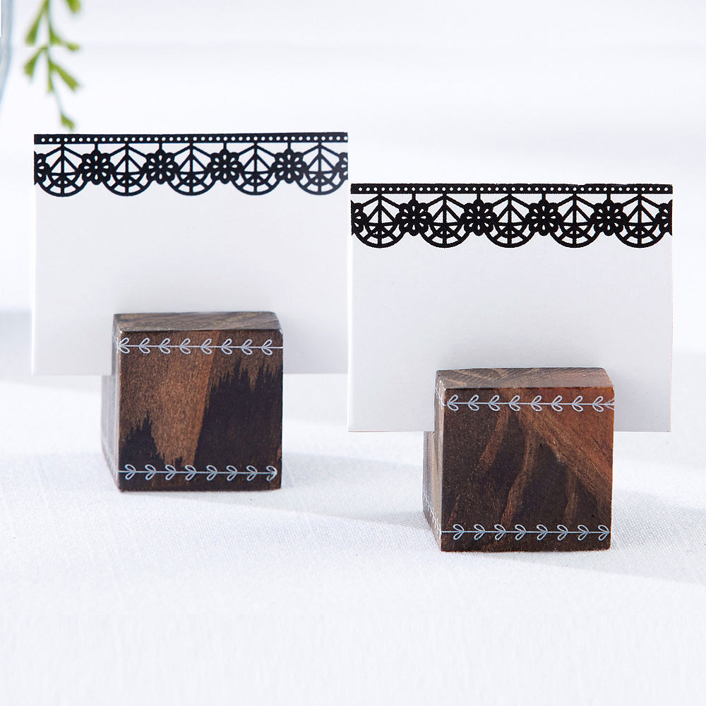 Black Lace Wood Cube Place Card Holders Image #2