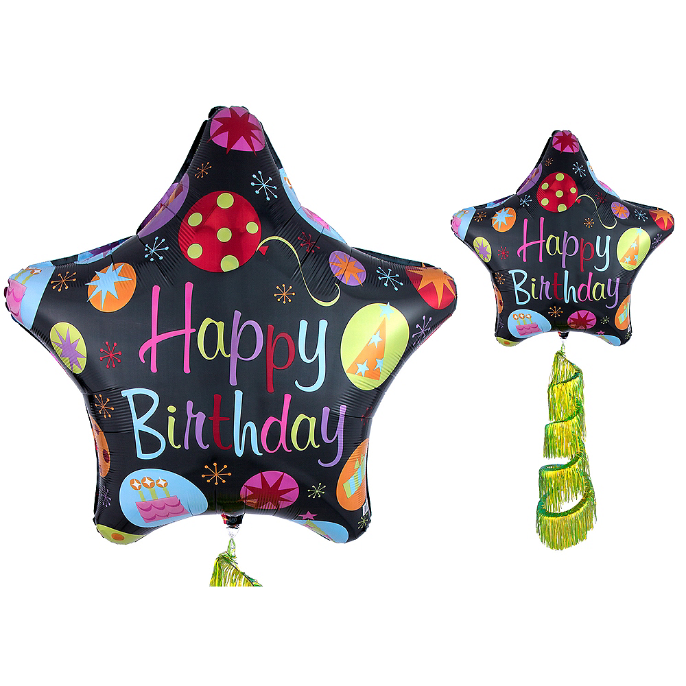 Giant Happy Birthday Star Balloon with Fringe Tail 31in Image #1