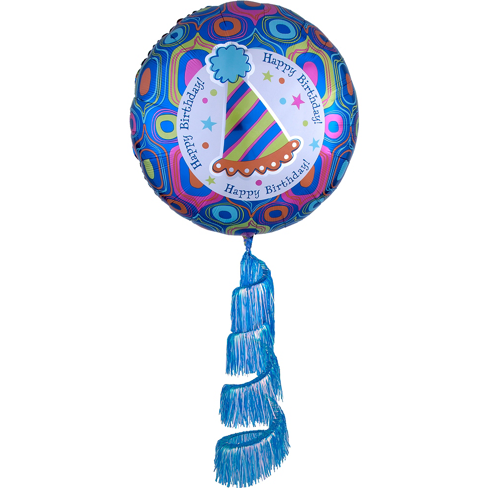 Giant Fringe Tail Retro Birthday Balloon 31in Image #1